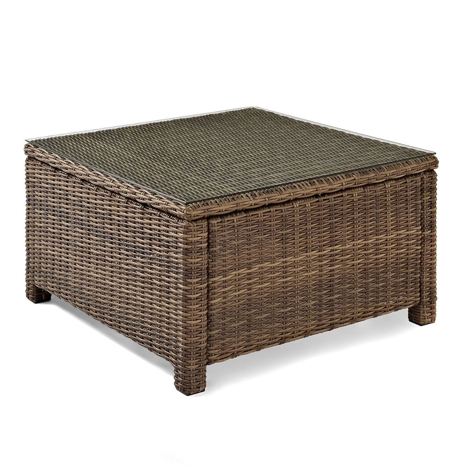 Crosley Furniture Bradenton Outdoor Wicker Sectional Glass Top Coffee Table by Modern Marketing Concepts