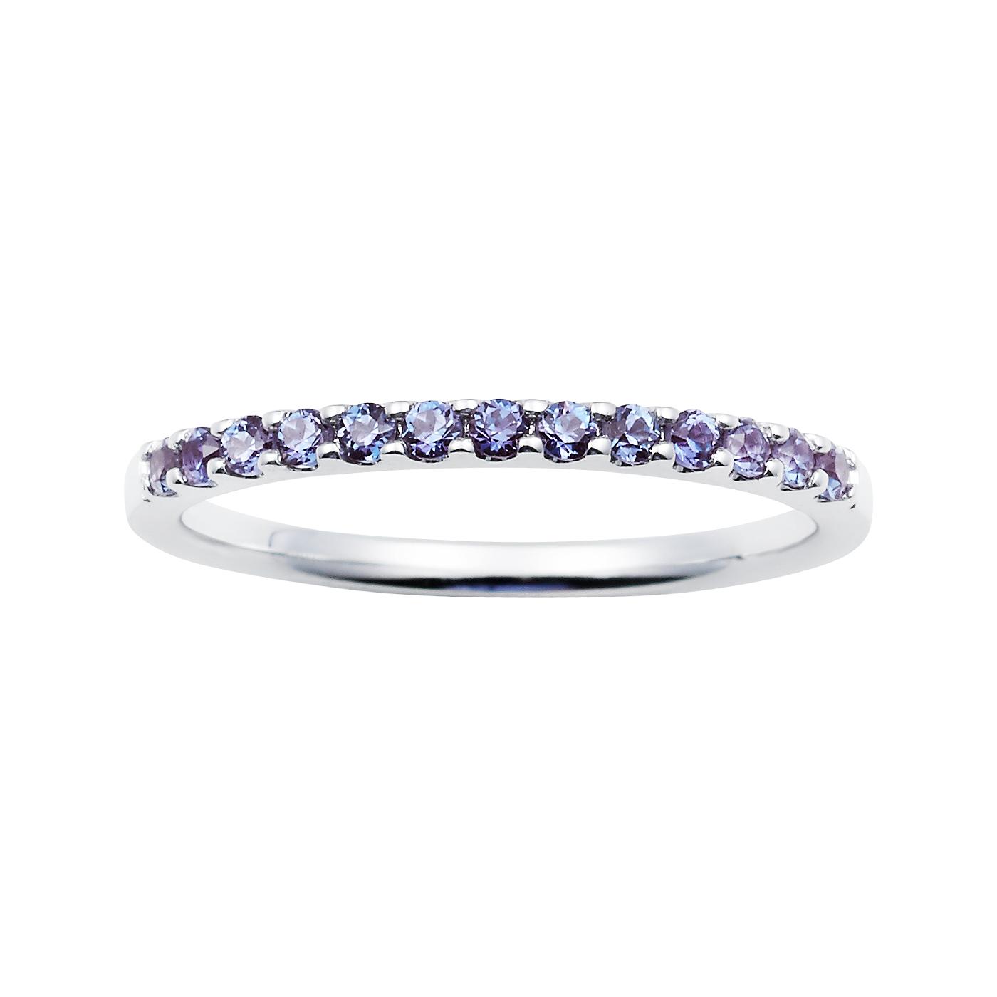 14K White Gold Created Alexandrite Gemstone Band Ring