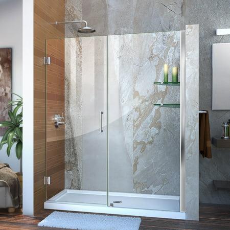 DreamLine Unidoor 57-58 in. W x 72 in. H Frameless Hinged Shower Door with Shelves in Chrome