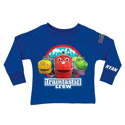 Personalized Chuggington Traintastic Crew Toddler Boy Royal Blue Long Sleeve Tee
