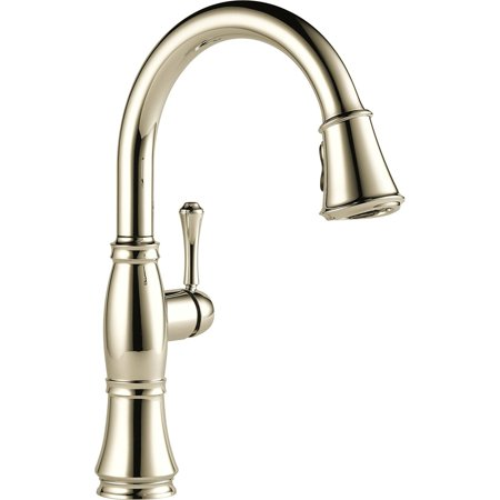 Delta Cassidy Single Handle Pull-Down Kitchen Faucet with ShieldSpray Technology, Polished Nickel