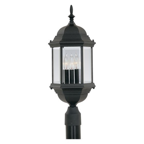 Designers Fountain Devonshire - Three Light Outdoor Post Lantern, Black Finish with Clear Glass