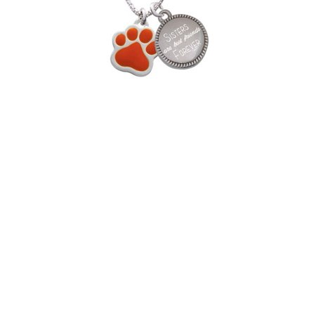 Silvertone Large Orange Paw Sisters Are Best Friends Forever Engraved Necklace - Orange Necklaces