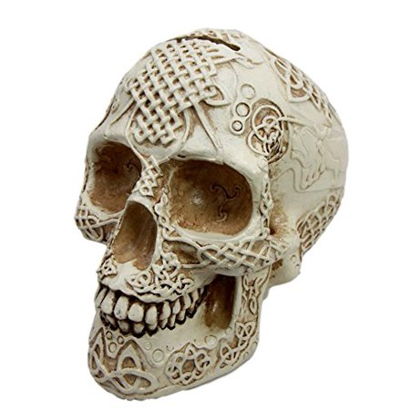 Atlantic Collectibles Bone Cream Celtic Lion Tribal Knot Tattoo Coat of Arms Skull Money Bank