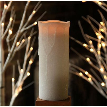 8 Inch White Glitter Flameless Christmas Candle Dual Timer Featurewhie