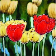 En Vogue B-60 Red Tulips - Decorative Ceramic Art Tile - 8 in. x 8 in.