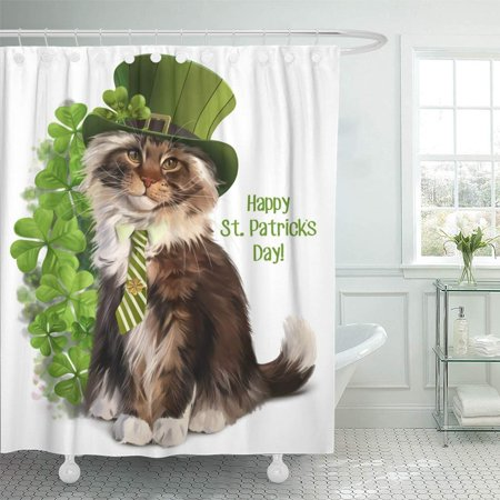 PKNMT Green Animal Cat Leprechaun Watercolor Painting Red the Hat the Tie Clover Cute Bathroom Shower Curtain 66x72 inch