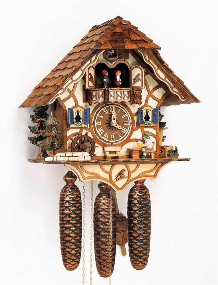 8-Day Black Forest House Cuckoo Clock w Night Shut-Off by Schneider Cuckoo Clocks