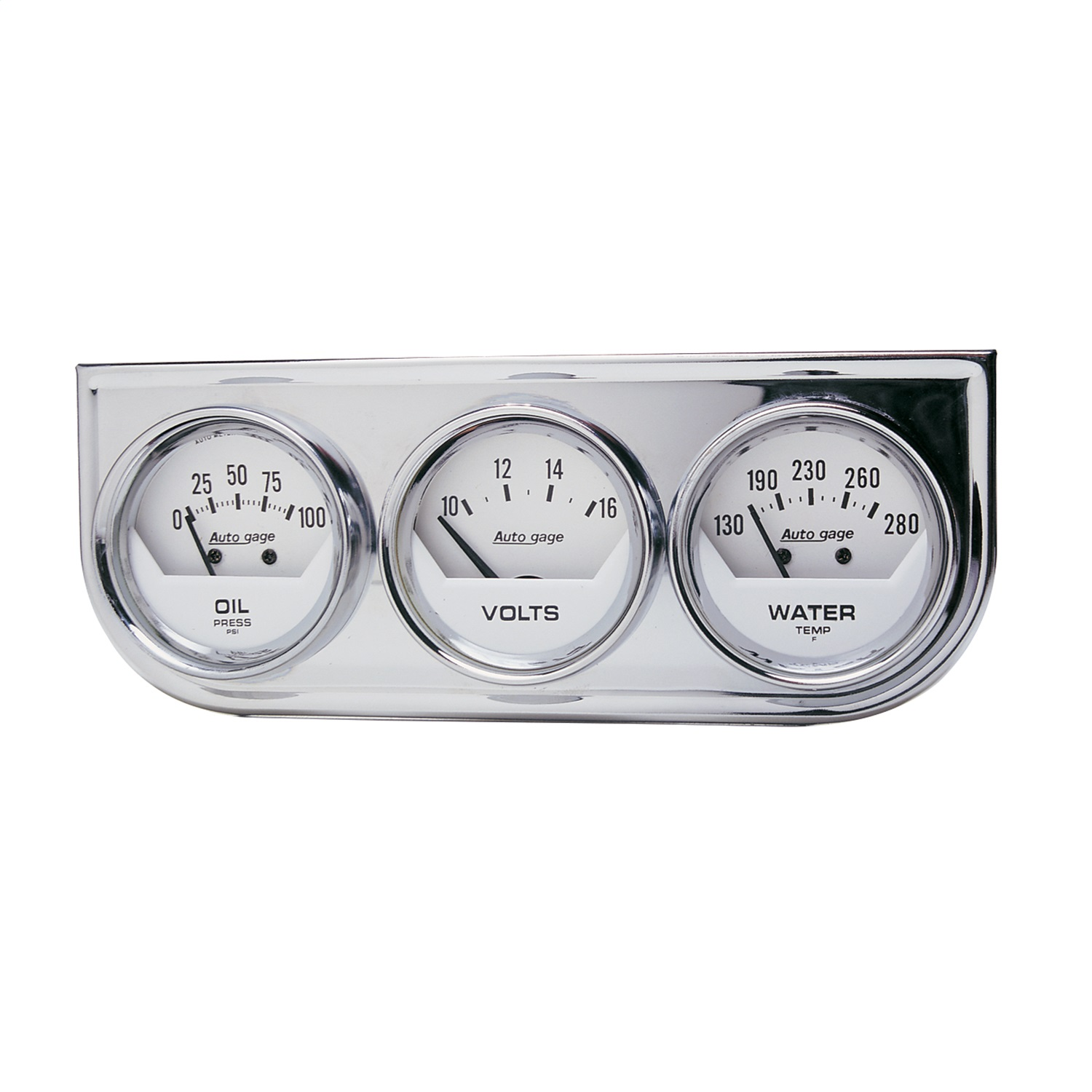 AUTO METER 2325 2IN 3 GAUGE CONSOLE, OIL/ WATER/VOLT, MECH, CHROME