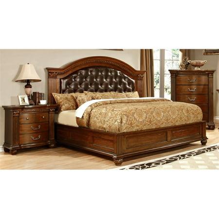 Furniture of America Sorella 3 Piece King  Panel Bedroom Set in Cherry ()