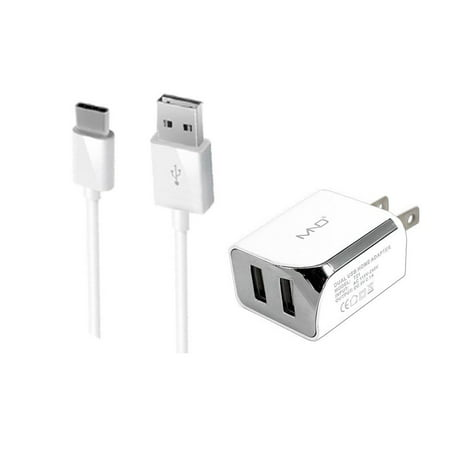 2-in-1 USB Type-C Chargers Bundle for ZTE Blade X Max Z983, Blade Max 3 Z986U, Grand X 4, Blade V8 Pro, Zmax Pro, Axon 7 (White) - 2.1Ah Travel Charger Adapter (Dual Port) + USB Charging Cable
