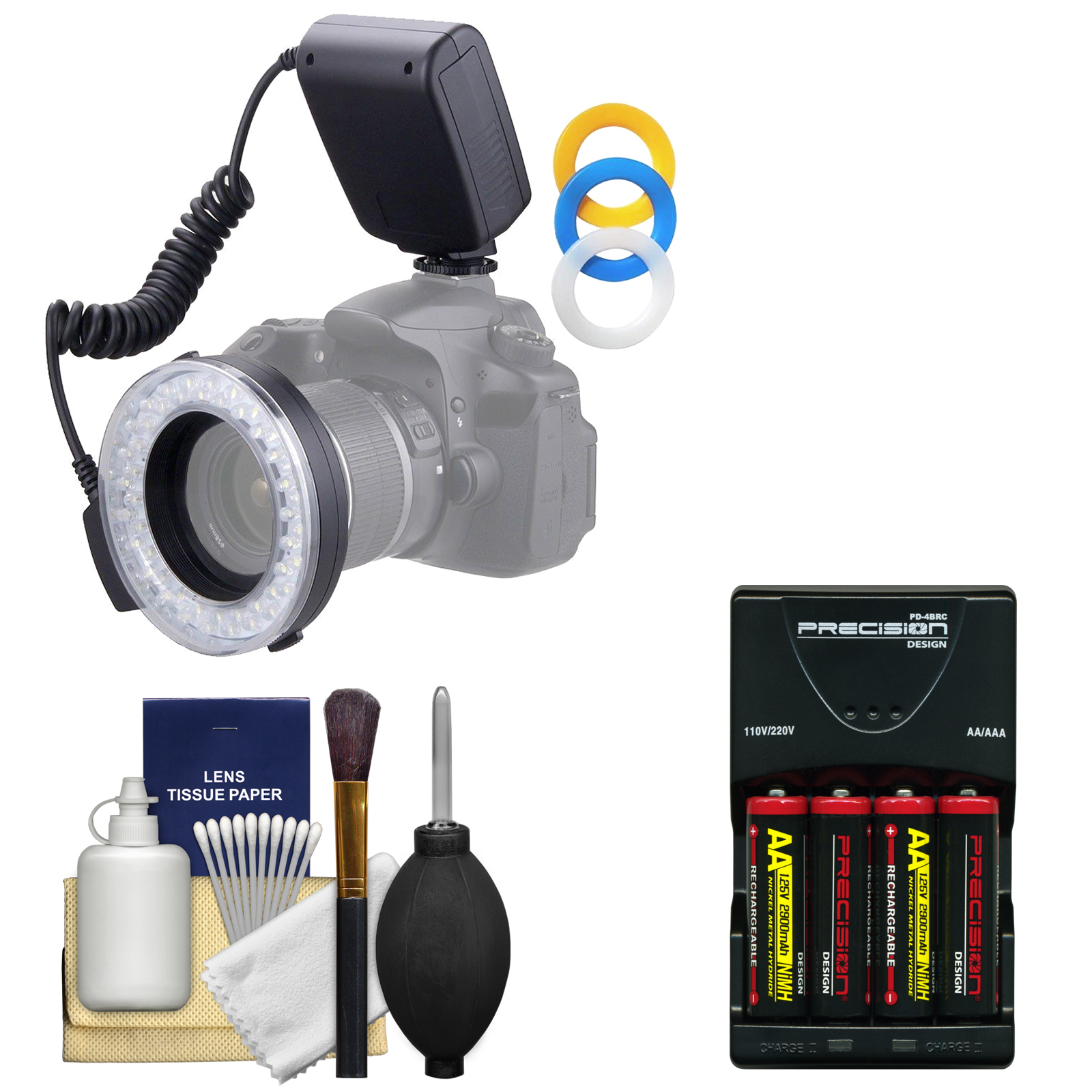 Vivitar Universal Macro 48 LED Ring Light & Flash with 4 Colored Diffusers with 4 Batteries & Charger + Cleaning Kit