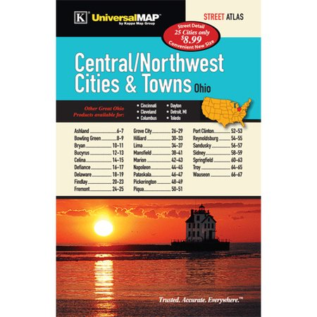Universal Map Ohio Central/Northwest Cities and Towns (Ogio Atlas)