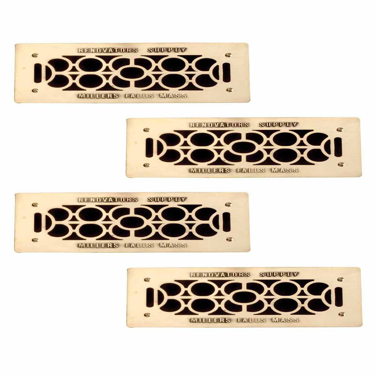 """4 Floor Wall Heat Air Grill Vent Grate Solid Brass 4.75 """"x 11"""" 