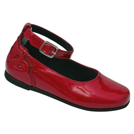 Little Girls Red Patent Scalloped Back Ankle Strap Casual - Buck And Buck Shoes