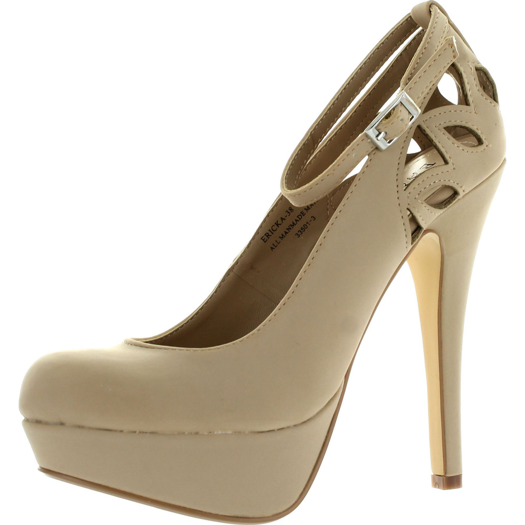 Bamboo Womens Ericka38 Cut Out Ankle Strap High Stiletto Heel Platform Pumps