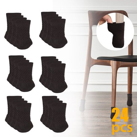 Chair Socks 24 PCs Furniture Feet Socks Covers - High Elastic Knitted Chair Leg Floor Protectors,Double Thickness Furniture Booties Set Coffee/Brown,Move Easily and Reduce Noise ()