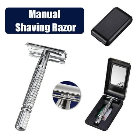 Moaere Manual Chrome Long Handle Men's Barber Shaving Safety Blade Razor w/ Storage - Silver Shave Set