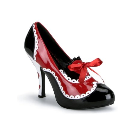 4 Inch Heels Queen of Hearts Costume Shoe Cartoon Pumps Black White Red Hearts for $<!---->