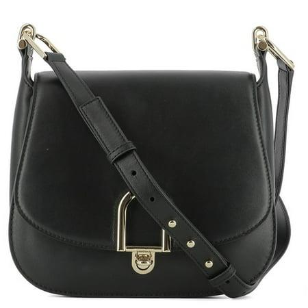 Delfina Large Leather Saddlebag - Black - 30T7GDZM3L-001
