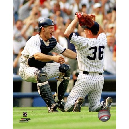 David Cone Is Greated By Catcher Joe Girardi After Pitching A Perfect Game Against The Montreal Expos At Yankee Stadium July 18 1999 Photo Print