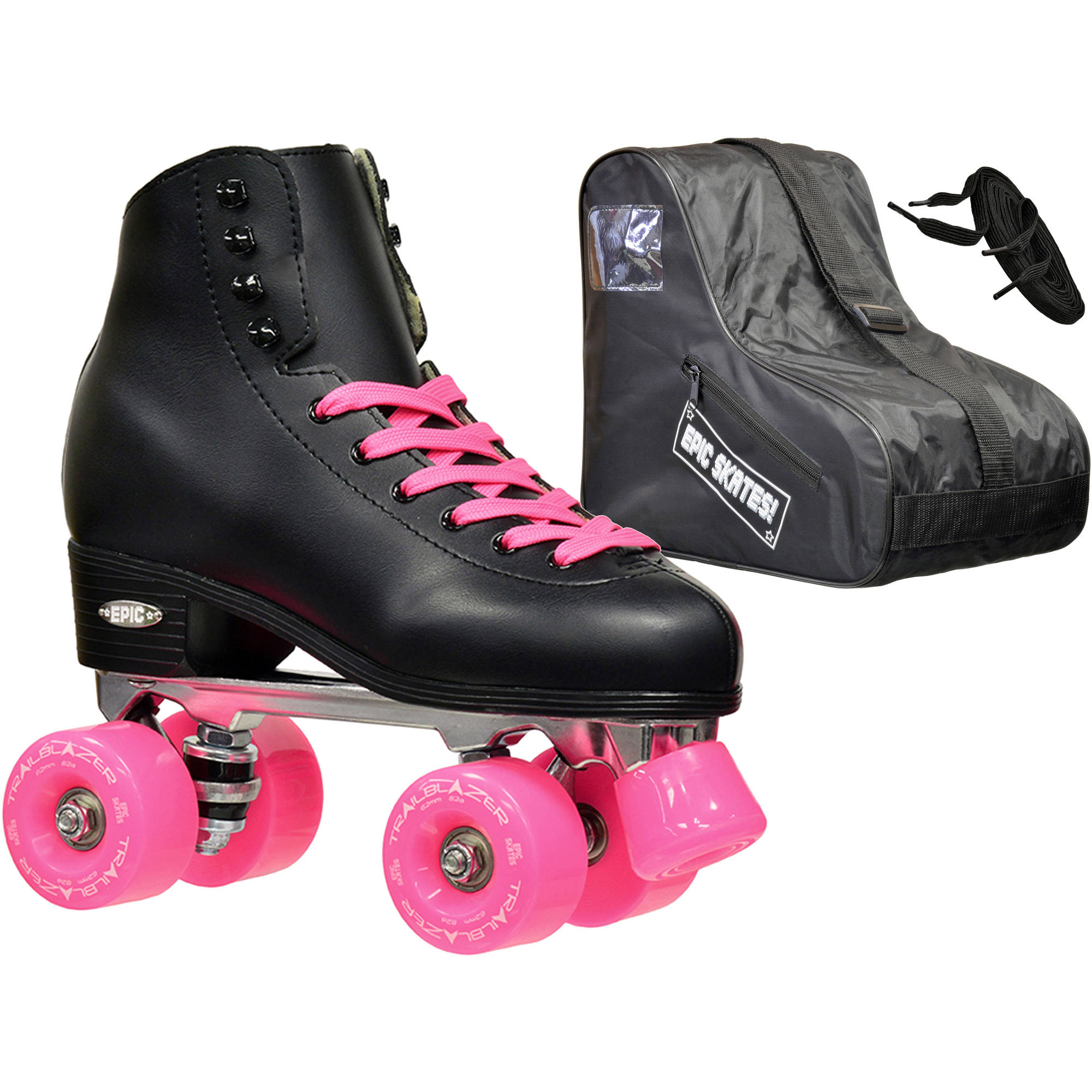 Epic Classic Black and Pink Quad Roller Skates Package