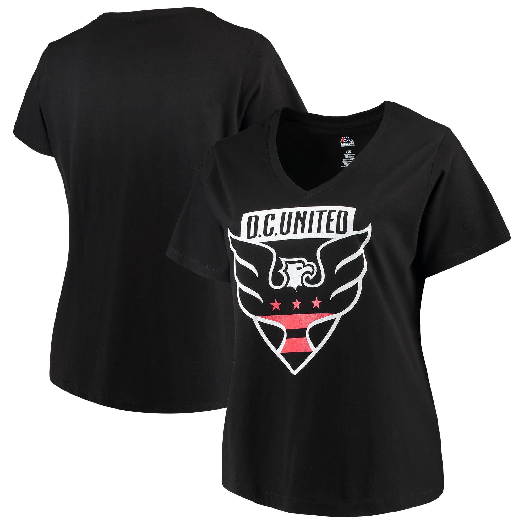 D.C. United Majestic Women's Plus Size Primary V-Neck T-Shirt - Black