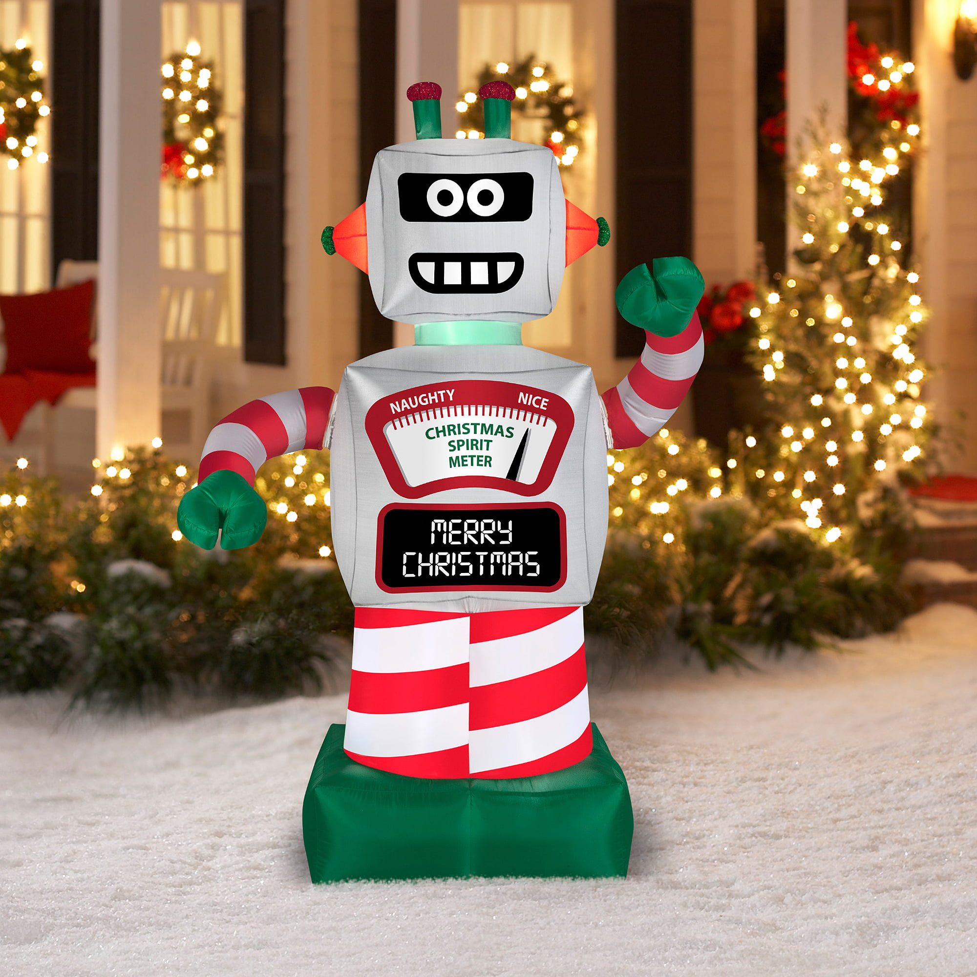 6 animated robot airblown inflatable christmas prop walmartcom - Walmart Com Christmas Decorations