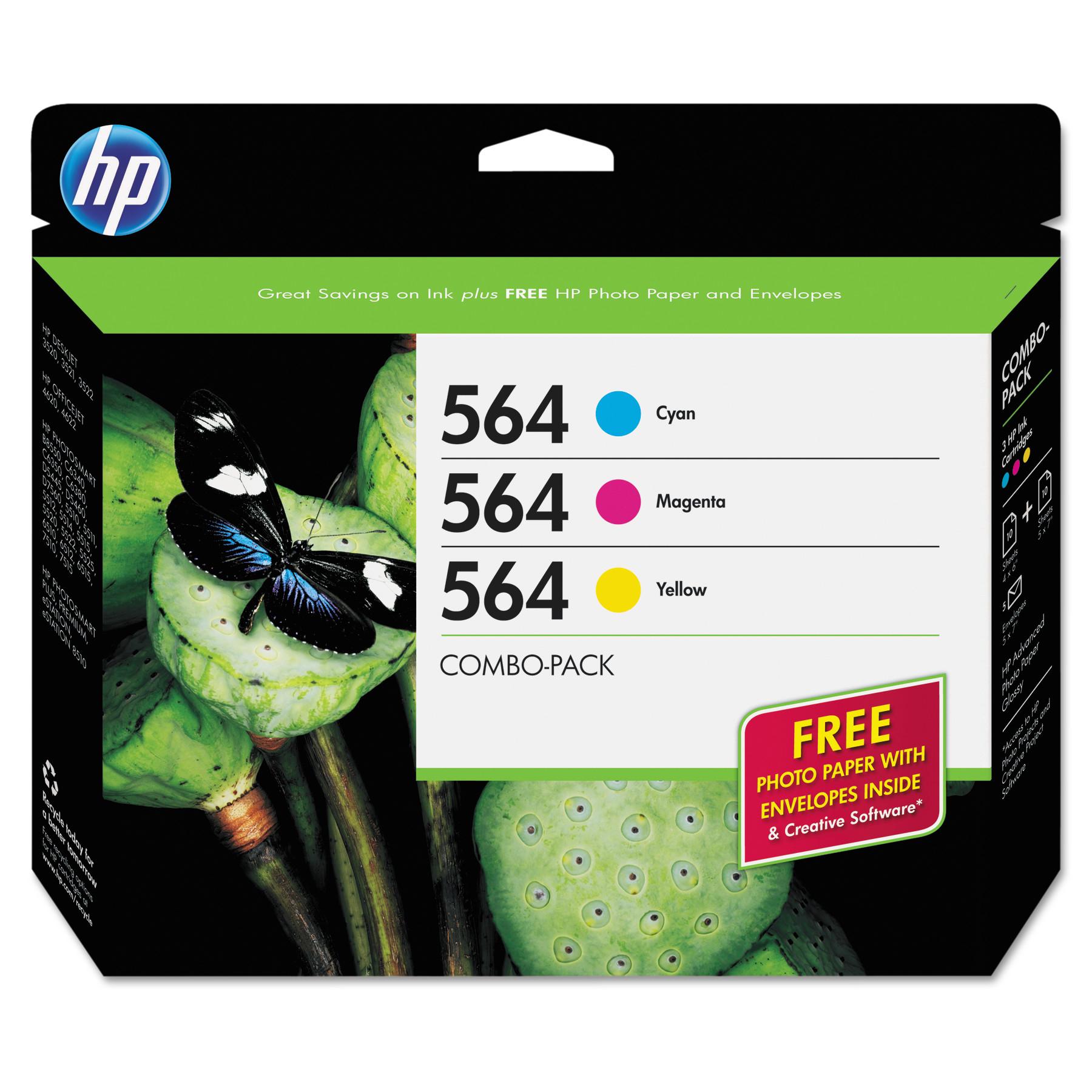 HP HP 564, (B3B33FN) 3-pack Cyan/Magenta/Yellow Original Ink w/Photo Paper  - Walmart.com