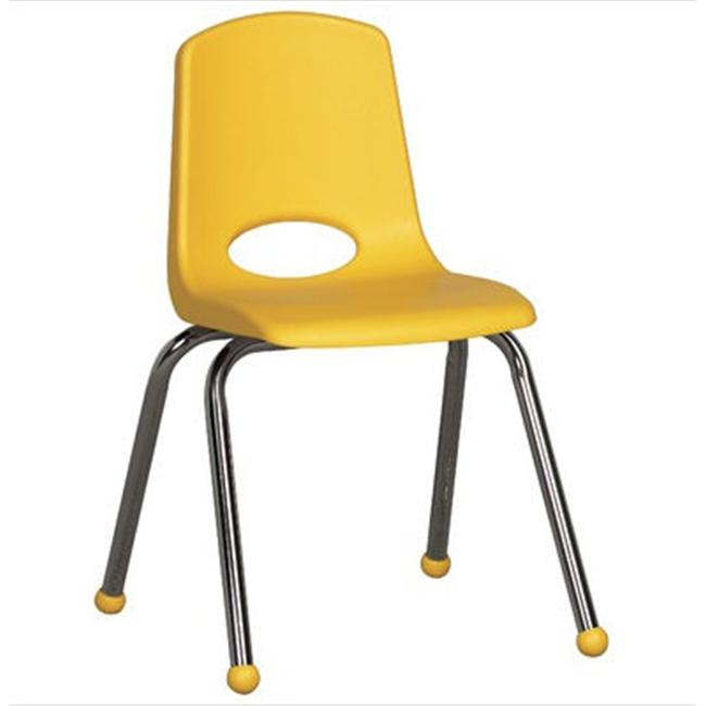 Early Childhood Resource ELR-0195-BL 16 in. School Stack Chair with Chrome Ball Glide Legs - Blue