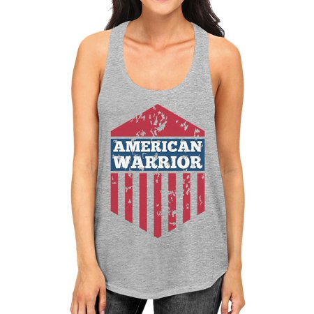 American Warrior Womens Gray Crewneck Graphic Tanks Gift For Her (Grey Warrior)