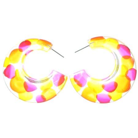 Dotted Hoop - Mi Amore Polka Dot Hoop-Earrings Clear/Multicolor