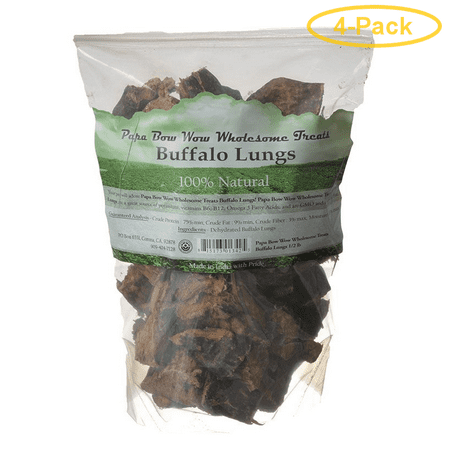 Papa Bow Wow Buffalo Lungs 0.5 lb - Pack of 4
