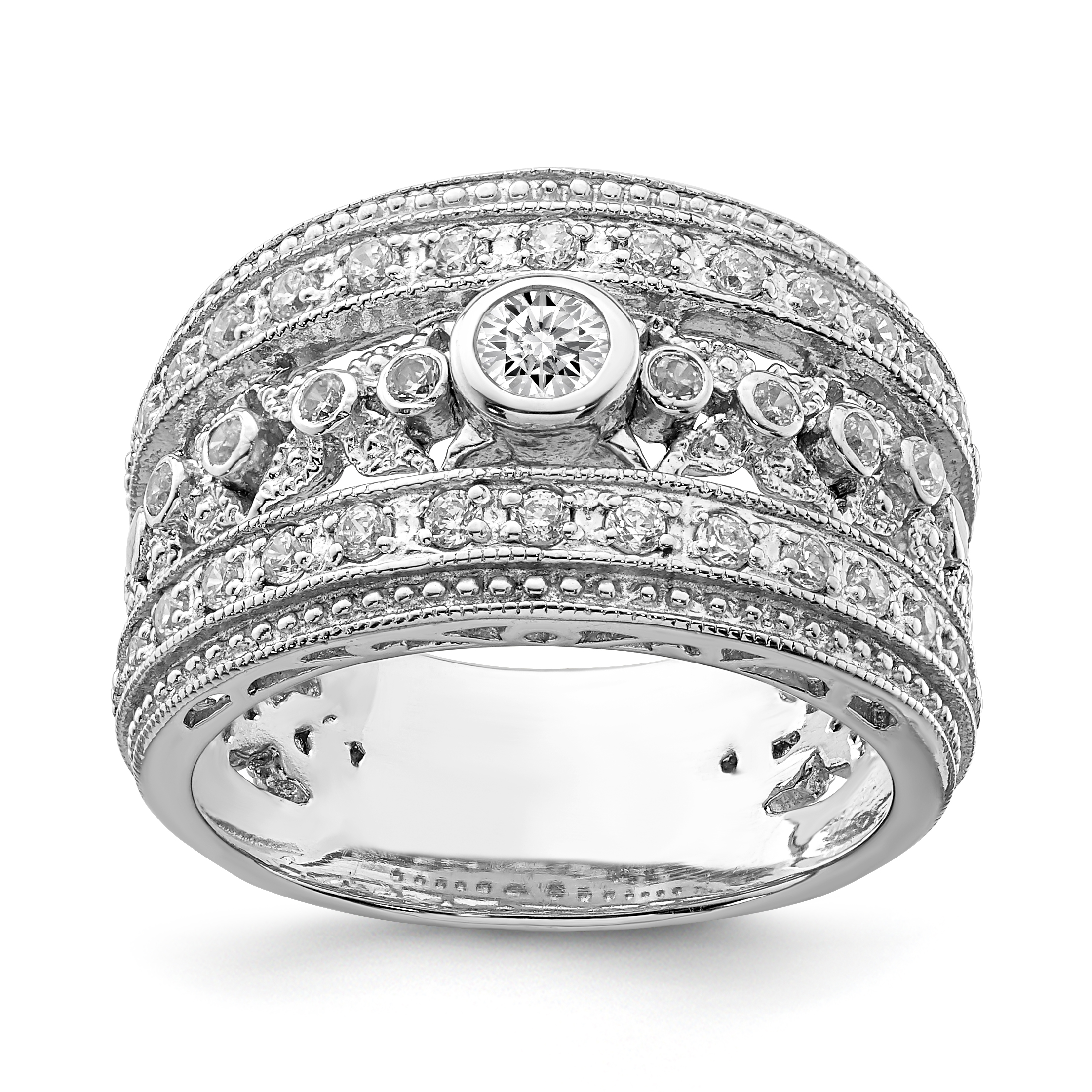 925 Sterling Silver Cubic Zirconia Cz Band Ring Size 8.00 Fine Jewelry Gifts For Women For Her - image 3 of 3