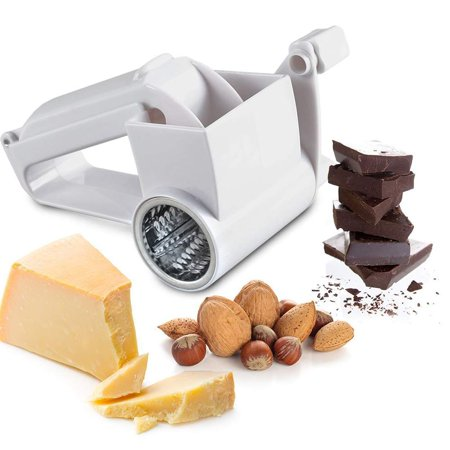Hand Held Rotary Cheese Grater, Cheese Cutter Slicer with Sharp Stainless Steel Blades Drum Easy Clean, Shredder Multifunction Can Cut Chocolate, Carrot, White - image 3 of 8
