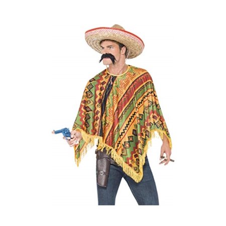 Smiffys Men's Poncho and Moustache kit, Western, Serious Fun, One Size, 43904 - image 1 of 1