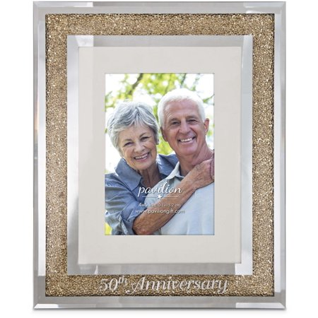 Pavilion - 50th Anniversary Gold Crystal Mirrored 4x6 Picture Frame