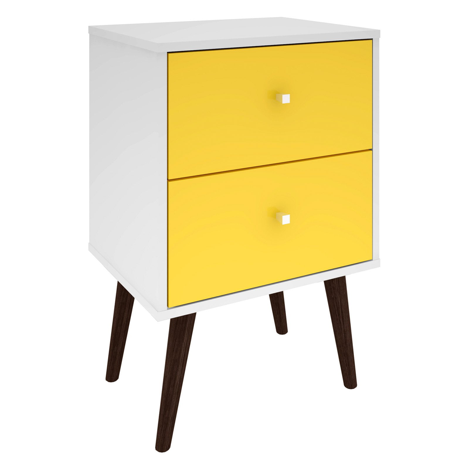Liberty Mid Century Modern Nightstand 2 0 With 2 Full Extension Drawers In White And Yellow With Solid Wood Legs Walmart Canada