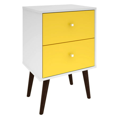 Manhattan Comfort Liberty Mid Century - Modern Nightstand 2.0 with 2 Full Extension Drawers in White and Yellow with Solid Wood