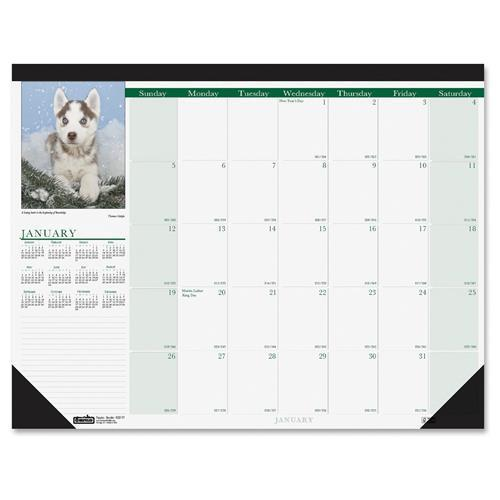 "House of Doolittle Earthscapes Puppies Desk Pad - Julian - Monthly - 1 Year - January 2018 till December 2018 - 1 Month Single Page Layout - 18.50"" x 13"" - Desk Pad - Leatherette, Paper - Non-refillab"