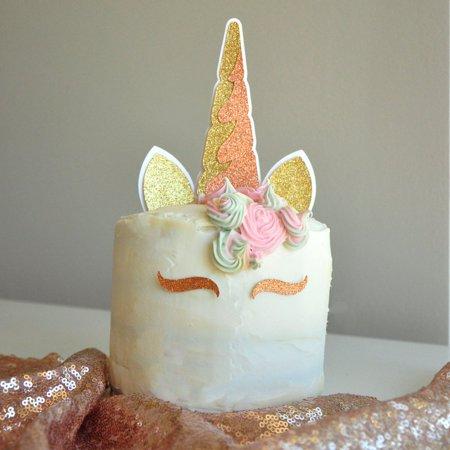 Unicorn Cake Topper. Unicorn Horn, Ears, and Eyelash Set. Unicorn Party Decor. *Cake NOT - Cake Decor