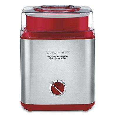 Cuisinart Ice 30R Pure Indulgence Frozen Yogurt Sorbet   Ice Cream Maker  2 Quart  Brushed Metal Red