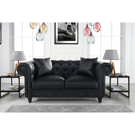 Lover Leather (Divano Roma Furniture Classic Living Room Bonded Leather Scroll Arm Chesterfield Loveseat)