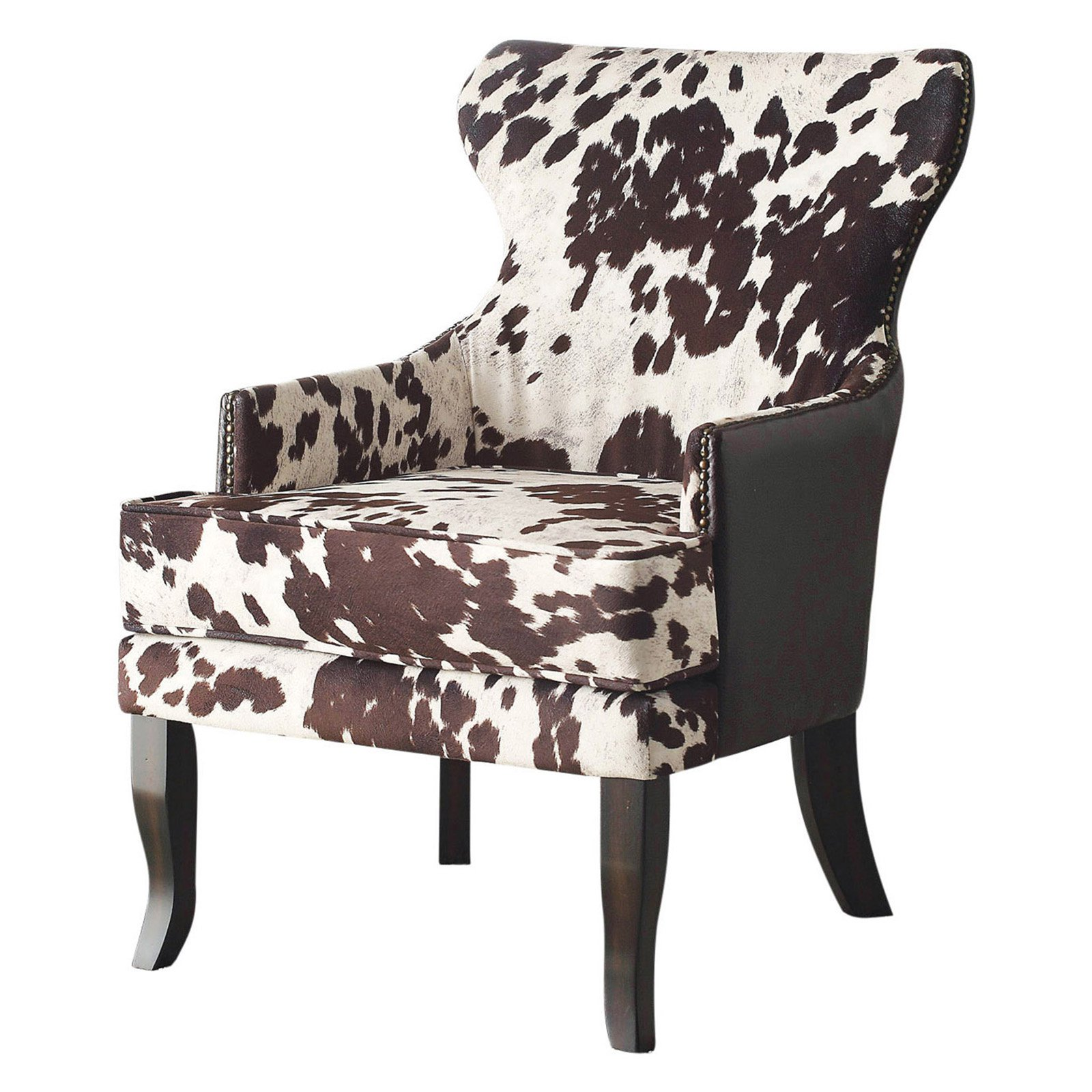 !nspire Faux Cowhide Accent Wing back Chair