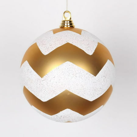 Gold Matte with White Glitter Chevron Commercial Size Christmas Ball Ornament 8 (200mm)