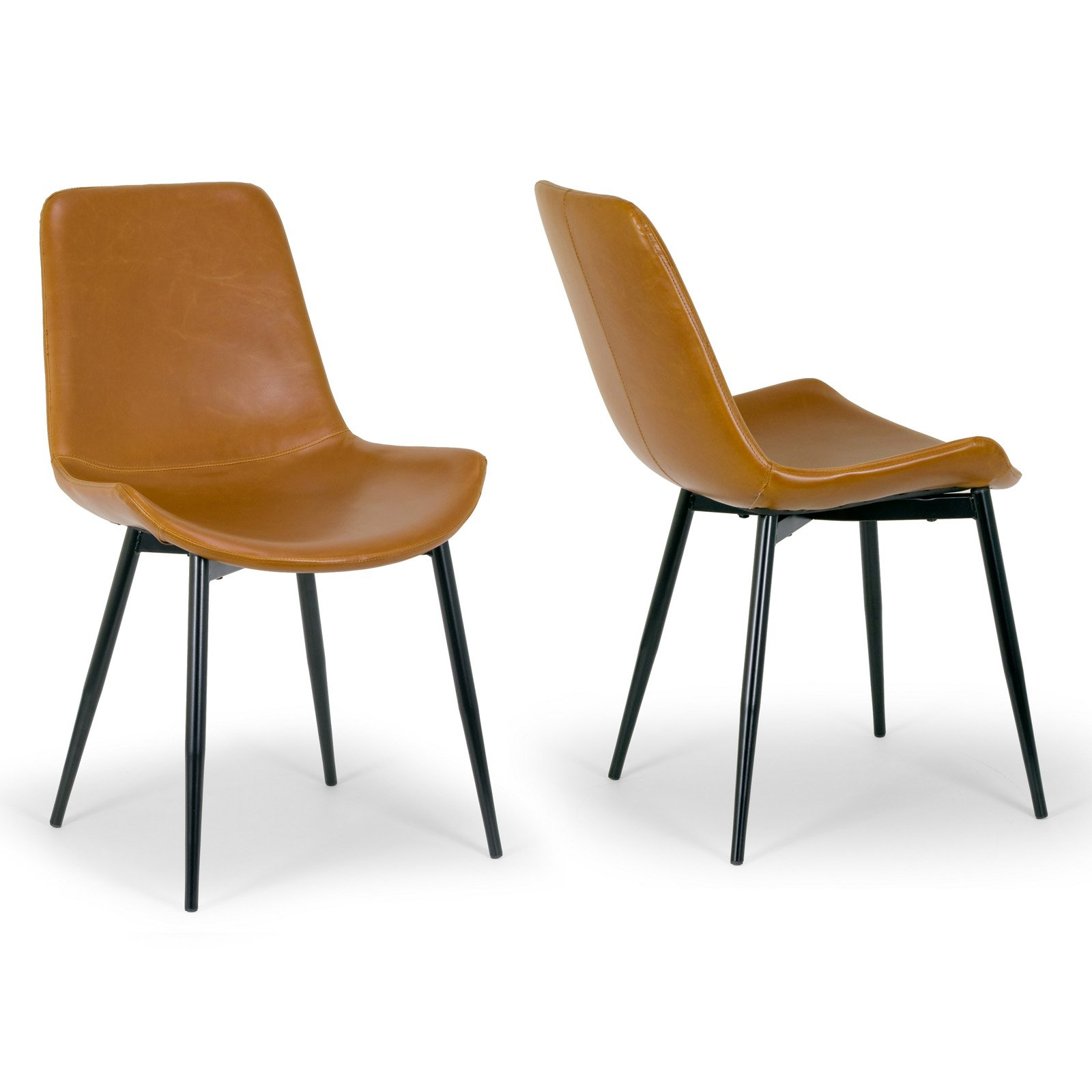 Set of 2 Alary Caramel Brown Faux Leather Modern Dining Chair with Black Iron Legs