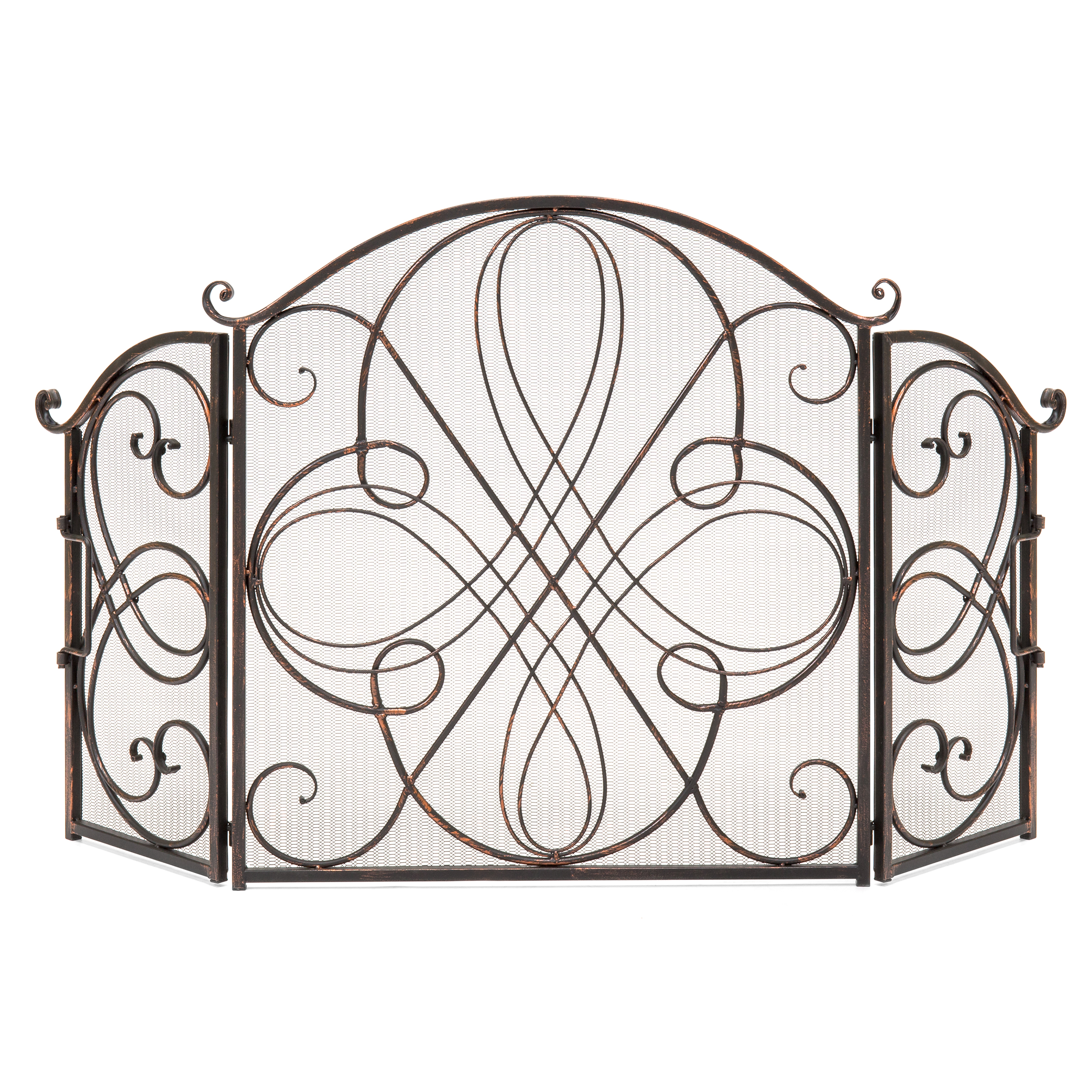 Best Choice Products 3-Panel Solid Wrought Iron See-Through Metal Fireplace Safety Screen Protector Decorative Scroll Spark Guard Cover - Antique Bronze