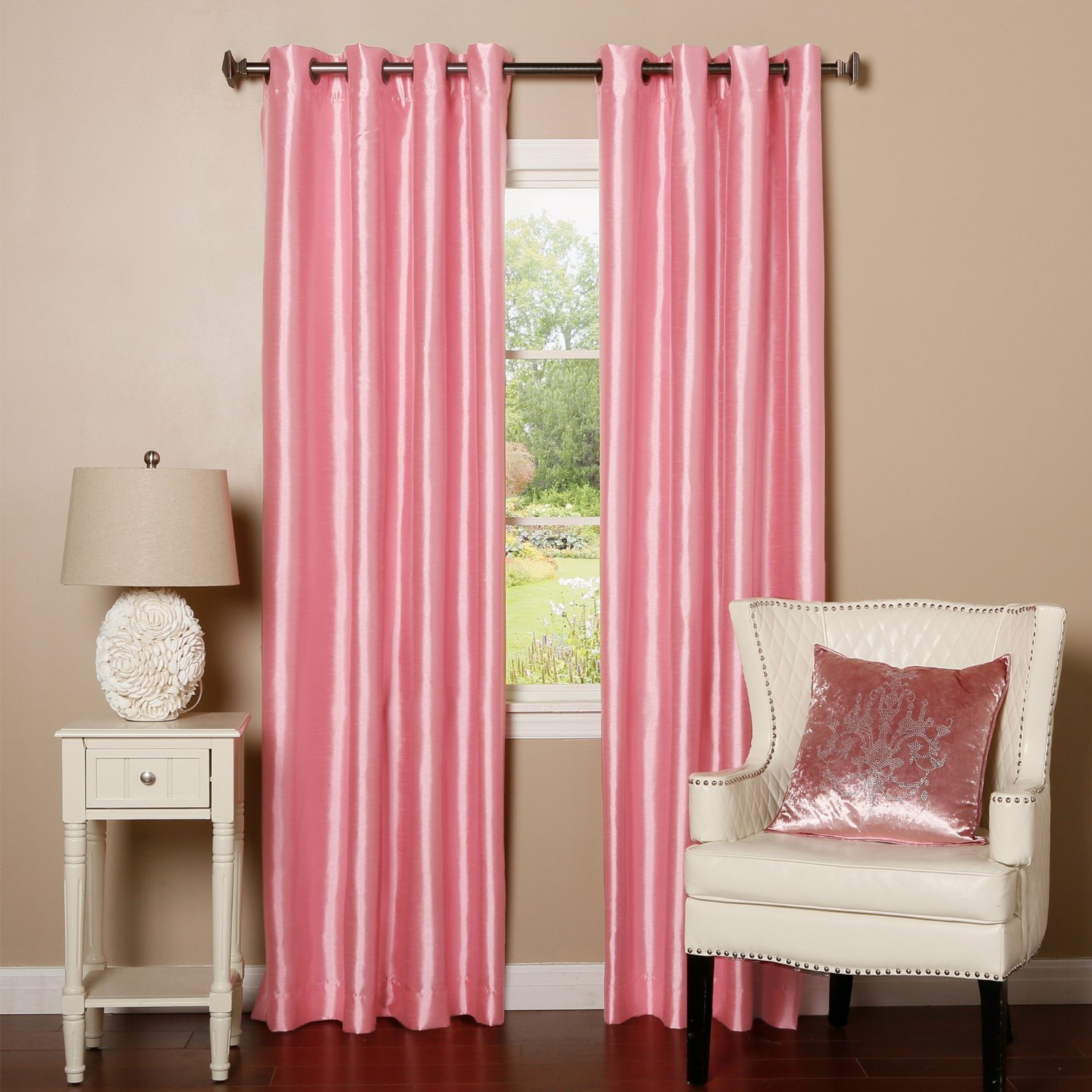 "Qutain Linen Faux Silk Grommet Curtain Window Panel Solid 55"" x 84 - Rose Pink"