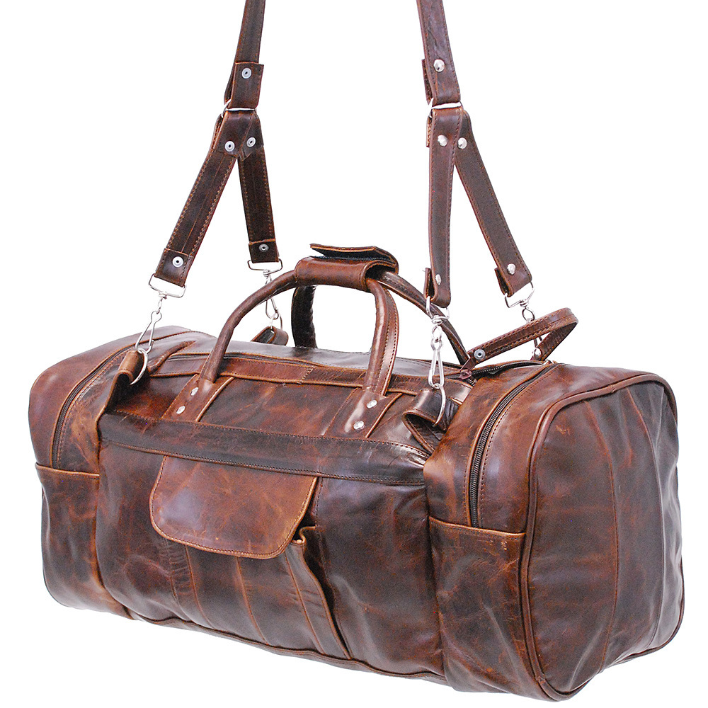 Jamin' Leather Large Size Vintage Brown Leather Travel Duffle Bag #P3102DN by
