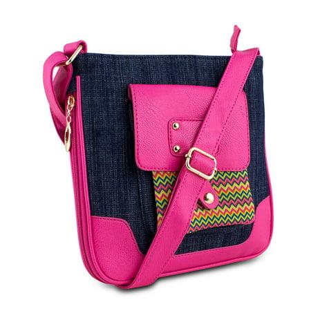 Mad Style Shellie Crossbody, Blue Denim/Pink - image 1 de 1